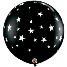 3ft Giant Balloons -  Contempo Stars 3ft Balloons (2pc Black)